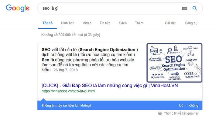 Trả lời nhanh của Google